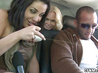 Cfnm show brings you a blink of what these horny bitches like to do without undressing. It starts in the car with this slut that holds the mic, she pu