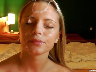 This dirty Eurobabe gets down on her knees so she can stick a big cock in her pretty mouth. She works the cock like a pro and then prepares to take a