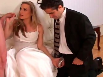 Poor guy has got beautiful fiance that is dominating on him. Skanky bride sucks big dick while cuckold is sitting next to her.