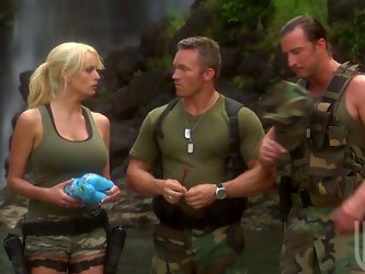 After drinking some booze, sexy blonde milf Stormy Daniels gets horny enough for a threesome fuck session with two soldiers. She blows their dick in t