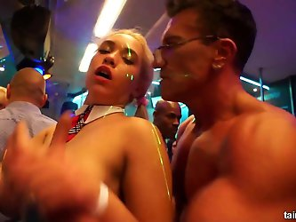 Naked babes dancing and fucking in club