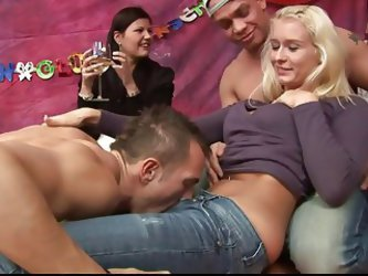 Young Blonde Gets Fucked At Group Sex Party