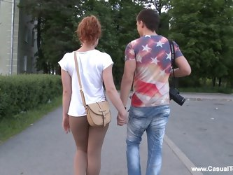 Cute redhead called Emma gives a blowjob and rides a cock