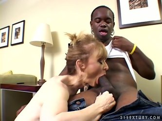 Nina Hartley is a hot momma who knows for sure that ebony guys have very massive cocks and for this ones she seduces one next door BBC and gets fucked