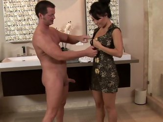 American dude enjoys sexy time with beautiful Asa Akira. He sits on the special chair and Asa tickles his anus and balls with her fingers and blows hi