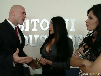 Audrey and Aletta look so fucking hot in their busyness suits that their busyness partner couldn't stand to order those bitches to suck his huge