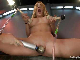 Amy Brooke is a blonde gorgeous milf who enjoys pleasuring herself. She moans with both pain and pleasure while she vacuums her big tits. For more ple
