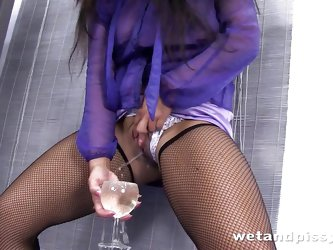Piss soaked Valentina Ross is feeling filthy and turns up in fishnet stockings and a sheer purple blouse. Immediately she grabs a wine glass and fills