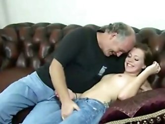 Watch a horny elderly man aka me having a good time with a brown-haired prostitute. The chick allows me to finger-fuck her crotch, then we bang in the