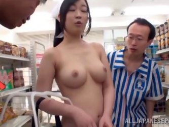 Public Threesome At The Shop With A Naked Japanese Chick