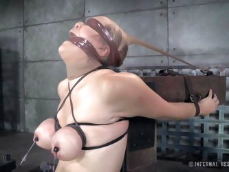 There are sadistic inventions created to offer pain and pleasure. Check out this blonde blindfolded slut trying an extreme bondage device. The mercile