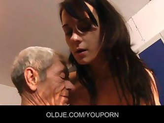 Young Brunette Fuck Old Man In The Dressing Room