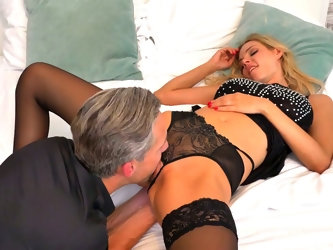 Nicely packed blonde babe in black lingerie Florane Russell rides long cock