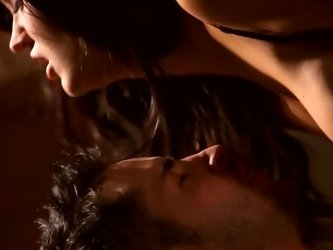 Passionate fucking scene with long-legged brunette and her inamorato