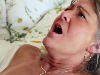 Small boobs granny with tan lines fucked in her bed