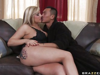 This very hot blonde babe with big round boobs, long sexy legs and big booty  is masturbating in her room as one of this guys enters and disturbs her.