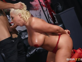 Kristina Shannon wears sexy red lingerie for seducing and fucking a dude