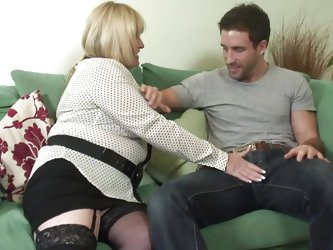 Horny mature Alisha wants cock and she wants it now! The chubby mature massages this guys dick over his jeans and then kneels with lust to unbuckle hi
