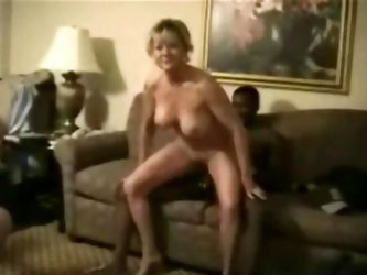 Blonde mature gets double penetrated and swallows down cum