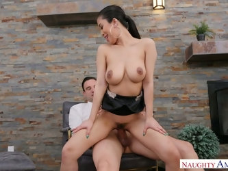 Asian sexy busty cowgirl Jade Kush warms her stud up by sucking dick