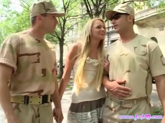 Ivana Sugar seduced by a couple of soldiers for a sexy threesome