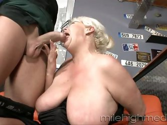 Fat grandma with saggy rack sucks and rides big young dick