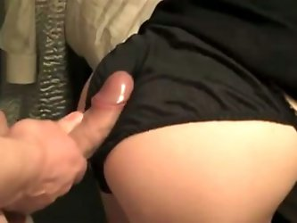 She wears her black satin panties and bends over for me. My playful fingers want to feel her wet pussy. I fuck her from behind and cum on her panties!