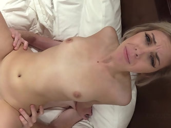 Exquisite blue eyed MILF Nicole cums so hard from his cock