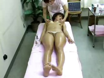 Lots of sexy oil in a Japanese massage