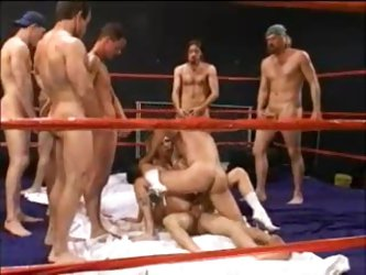 Total whore gangbanged in boxing ring