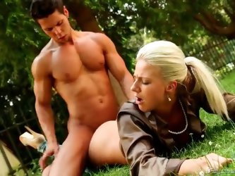 Satin blouse girl doggystyle sex outdoors