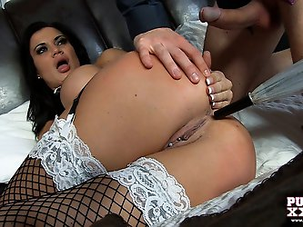 Slutty maid enjoys teasing her boss his big cock