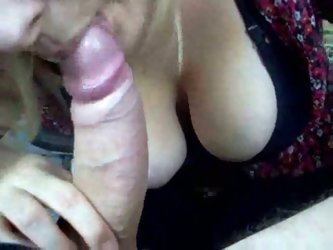 Busty 47 years old secretary from my office sucks my big bowed dick properly. I cum right in her mouth and she swallows it all.