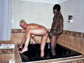 Short hair blonde fuck with black guy at hotel