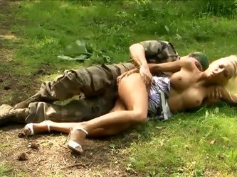 Military man nails blonde bimbo in the woods
