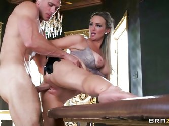 Hot blonde milf Abbey loves getting stuffed with a big hard cock. She's bent over by Johnny and her pussy is drilled after some mean licks. She l