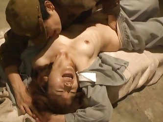 In that prison cell the asian girl experiences things that she couldn't think will ever happen to her. A soldier comes and fingers her hairy puss