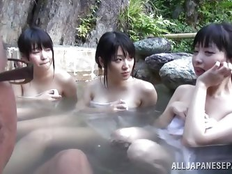 Being in a hot tub with three asian cuties can give a man one hell of a boner. Here they are, all four in a hot tub and it's clear that this dude