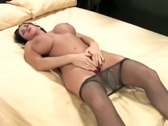 Busty milf solo tease in sexy pantyhose
