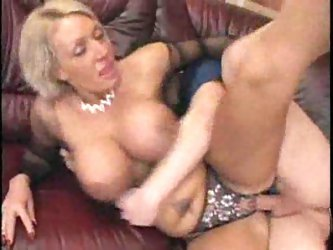 Busty milf in crotchless panties banged