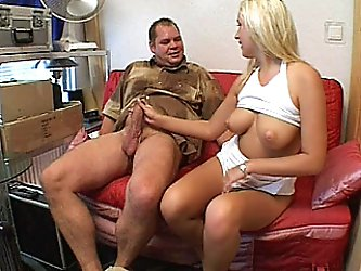 A lovely blonde amateur girlfriend with big tits homemade hardcore action with blowjob and fuck ending with cumshot on her tight ass !